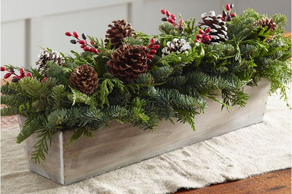 Fresh centerpiece of Noble fir and western red cedar with pinecones