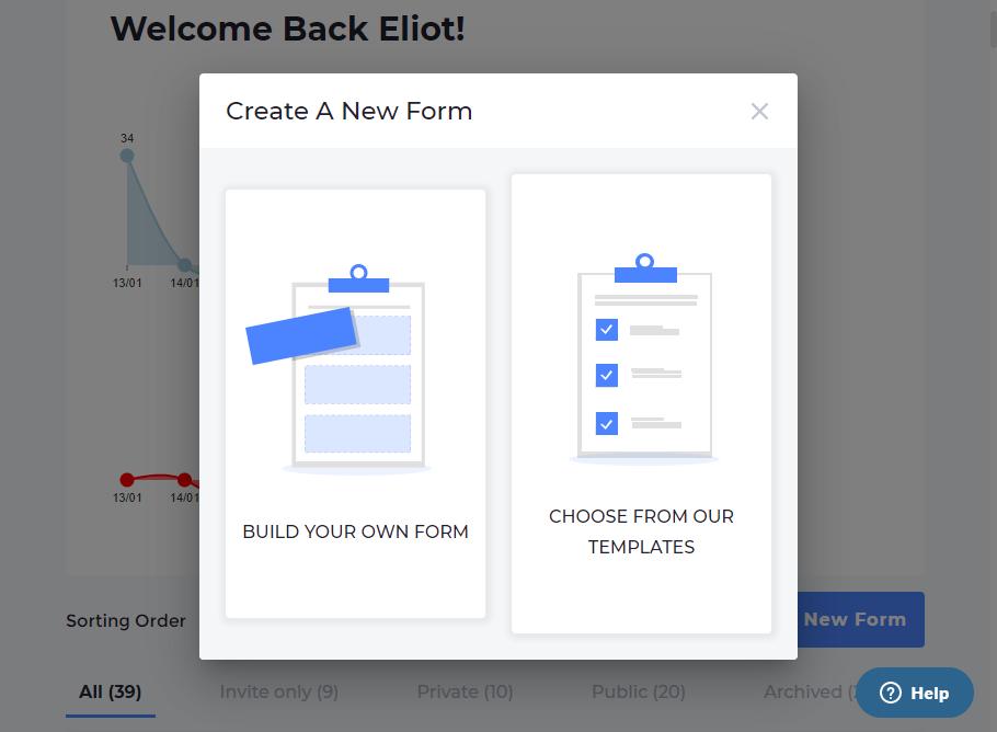 Screenshot of the Omnitrack form builder