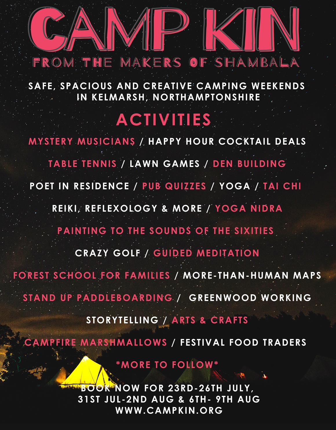 Shambala: The Camp Kin activity line up is here - there's still time to join us! 3
