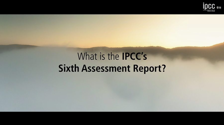 Picture of sky with text: What is the IPCC's Sixth Assessment Report?