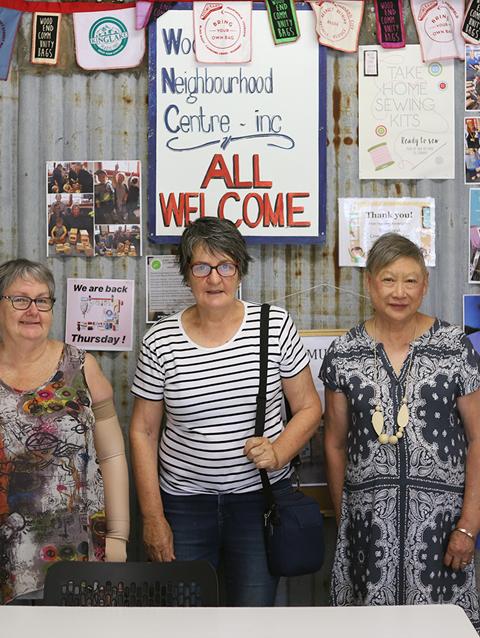 A group of elderly women at a neighbourhood centre
