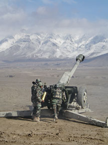 Image P10271.002. Artillerymen train at the Australian-run Afghan National Army Artillery School at Camp Alamo in Kabul, February 2011. Photographer Nick Fletcher